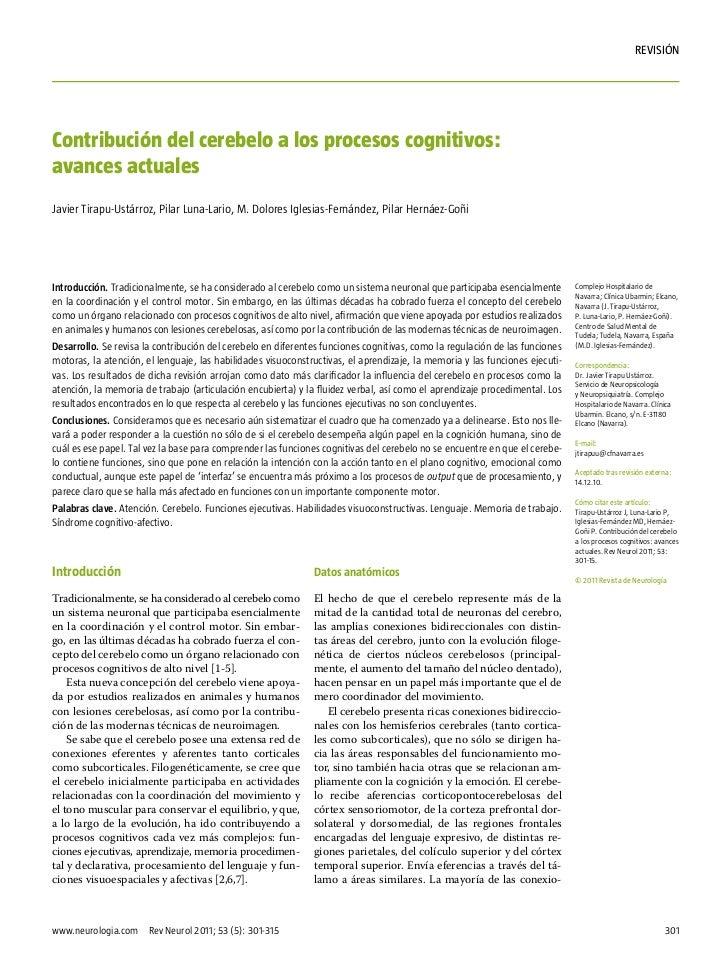 rEVISIÓNContribución del cerebelo a los procesos cognitivos:avances actualesJavier Tirapu-Ustárroz, Pilar Luna-Lario, M. D...