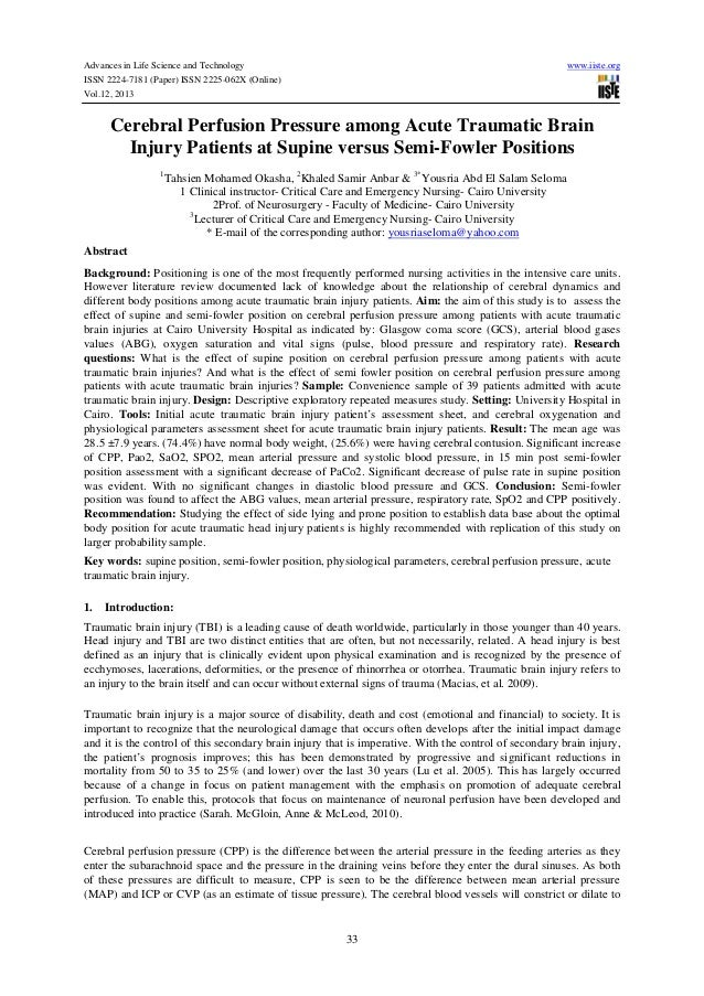Advances in Life Science and Technology ISSN 2224-7181 (Paper) ISSN 2225-062X (Online) Vol.12, 2013  www.iiste.org  Cerebr...