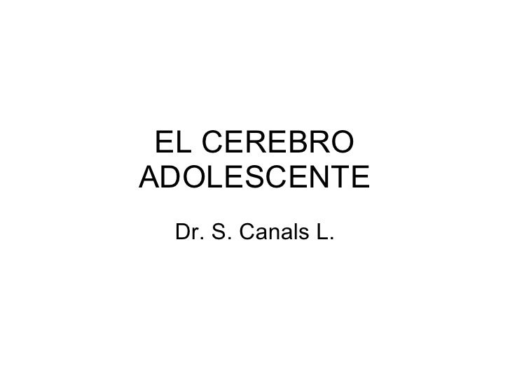 EL CEREBRO ADOLESCENTE Dr. S. Canals L.