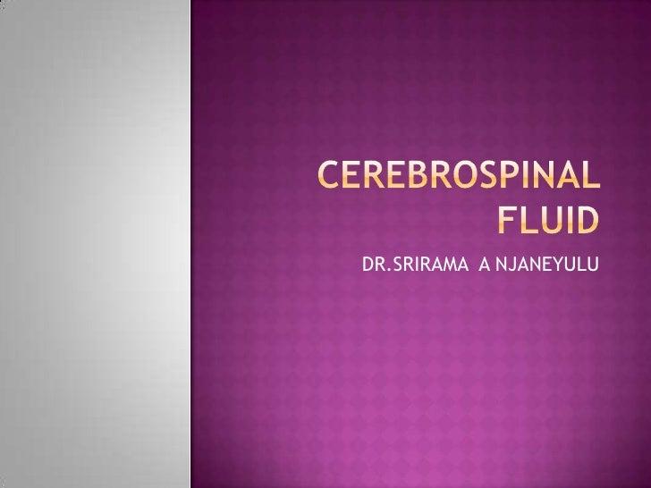 CEREBROSPINAL FLUID<br />DR.SRIRAMA  A NJANEYULU<br />