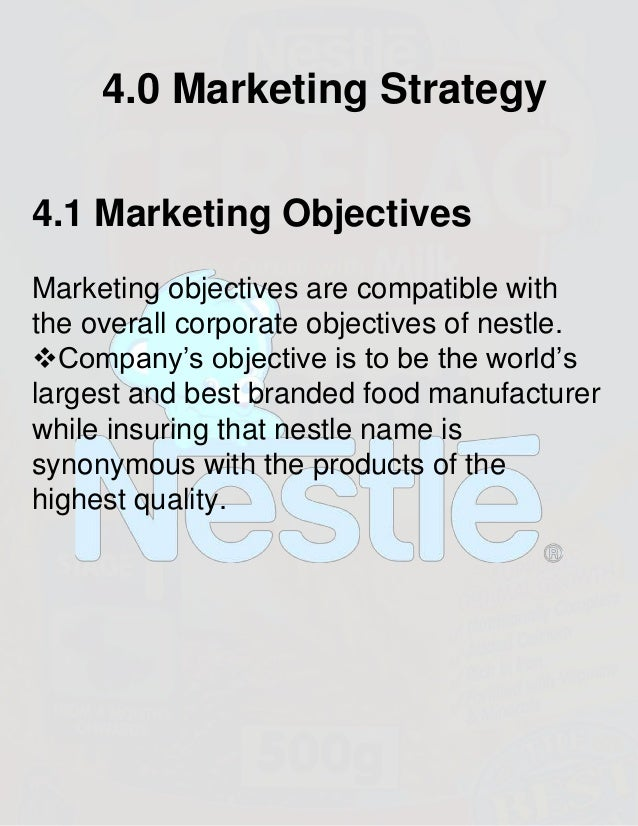 """goals and objectives of nestle company Nestle international business the subsequent chapters shall discuss the company""""s internal goals and strategy and how (nestle, 2012) company objectives:."""