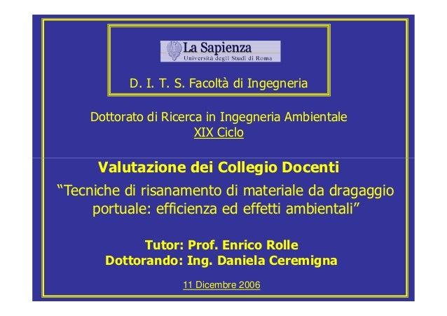D. I. T. S. Facoltà di Ingegneria    Dottorato di Ricerca in Ingegneria Ambientale                       XIX Ciclo      Va...