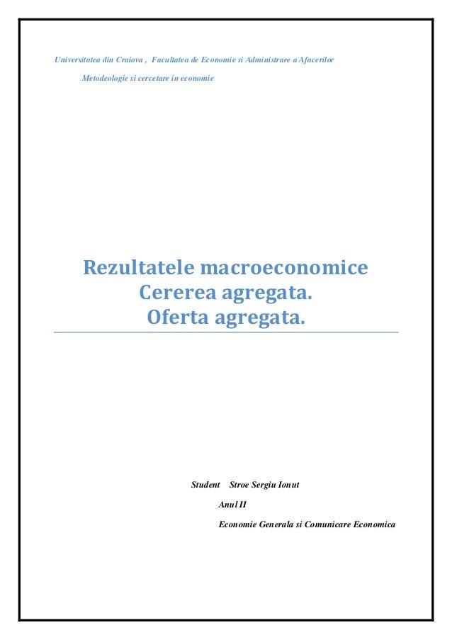 Cerere.oferta.rezultate macroeconomice