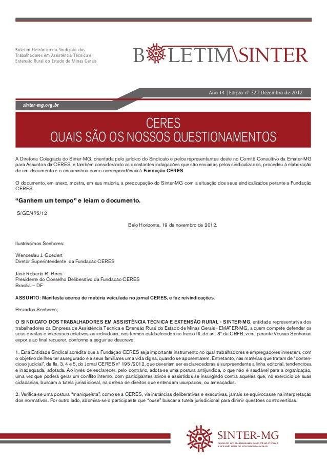 Boletim Eletrônico do Sindicato dosTrabalhadores em Assistência Técnica eExtensão Rural do Estado de Minas Gerais         ...
