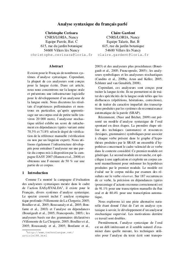 Analyse syntaxique du français parlé              Christophe Cerisara                                Claire Gardent       ...