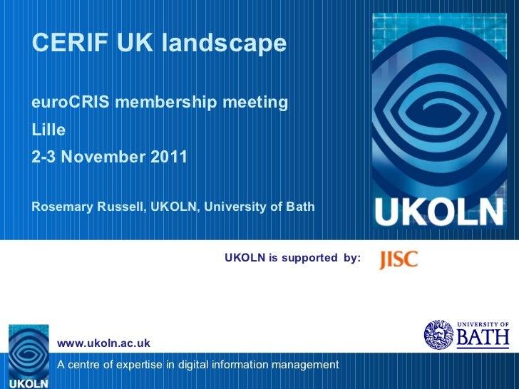 CERIF UK landscape (euroCRIS presentation)