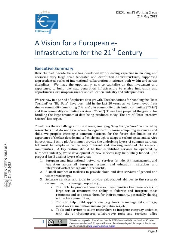 A Vision for a European e-Infrastructure for the 21st Century