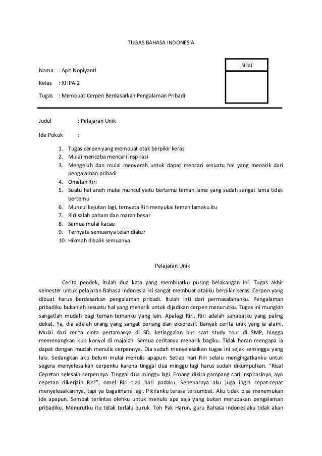 TUGAS BAHASA INDONESIA                                                                               NilaiNama : Apit Nopi...