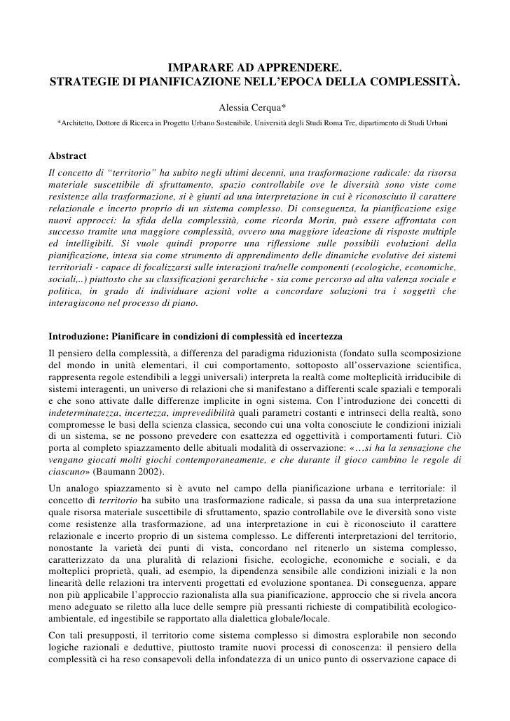 """Cerqua Alessia, """"Complessità e Pianificazione"""""""