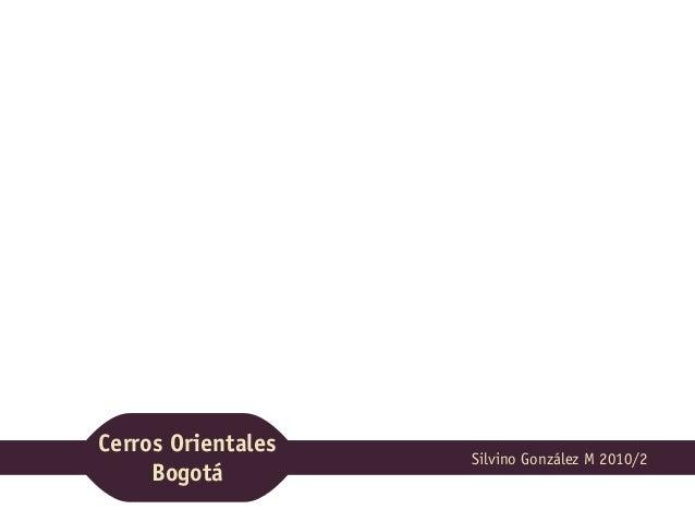 Cerros Orientales Bogotá Silvino González M 2010/2