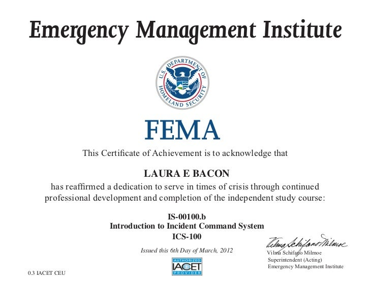 Emergency Management Institute                This Certificate of Achievement is to acknowledge that                      ...