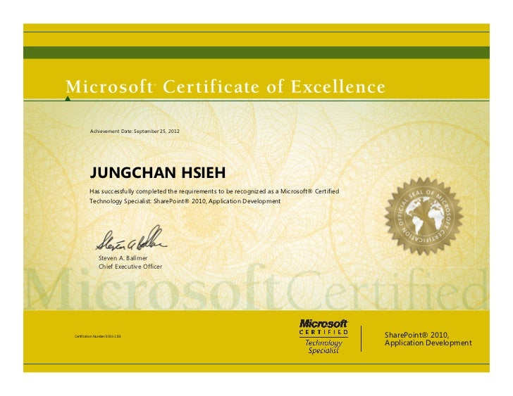 Achievement Date: September 25, 2012          JUNGCHAN HSIEH         Has successfully completed the requirements to be rec...