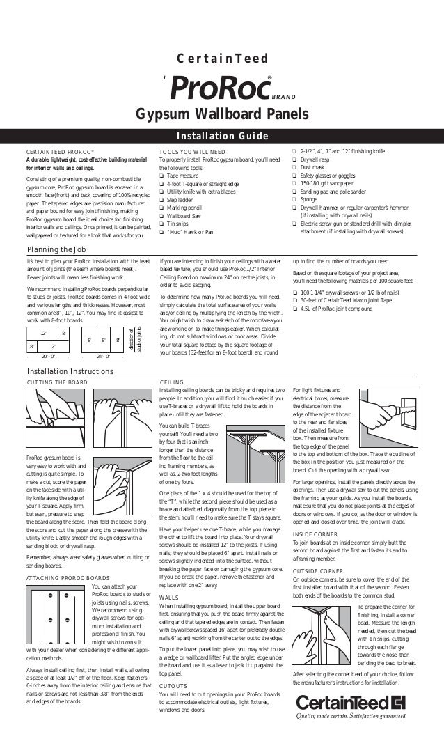 Gypsum Board Installation : Certainteed drywall installation guide