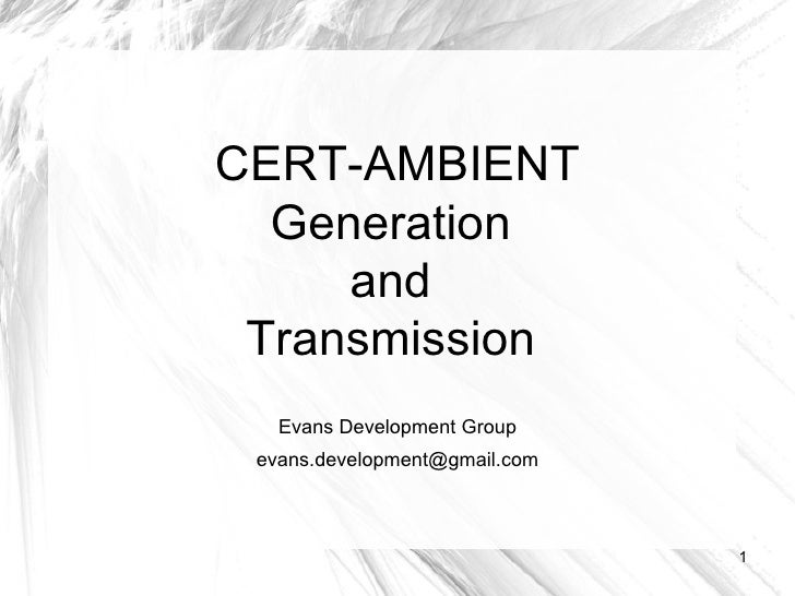 CERT-AMBIENT Generation  and  Transmission  Evans Development Group [email_address]