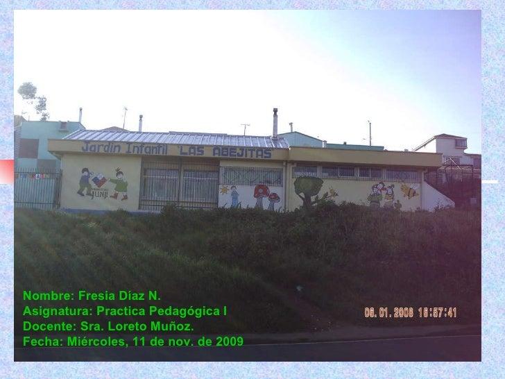 Nombre: Fresia Díaz N. Asignatura: Practica Pedagógica I Docente: Sra. Loreto Muñoz. Fecha: Miércoles, 11 de nov. de 2009
