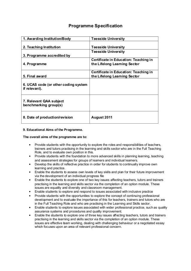 Cert ed teaching in the lifelong learning sector 1