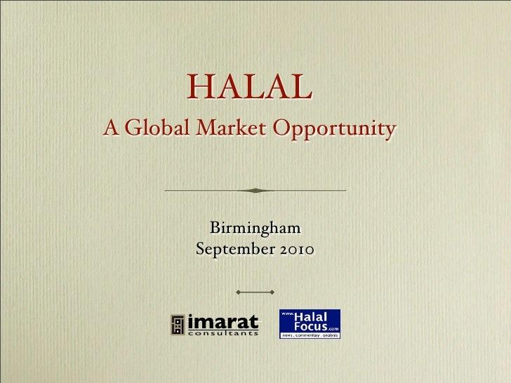 Halal - A Global Market Opportunity