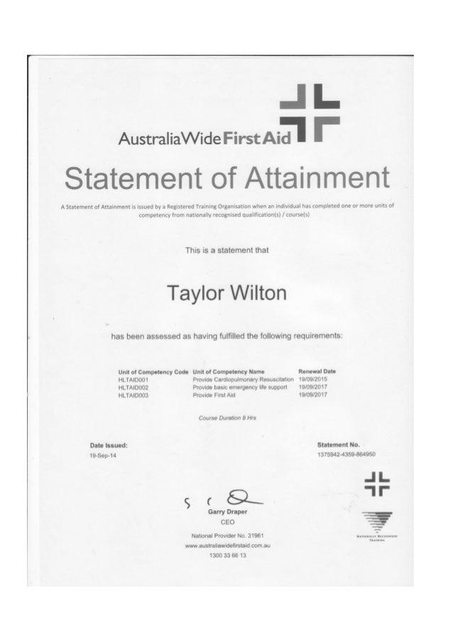 Certificates artefact