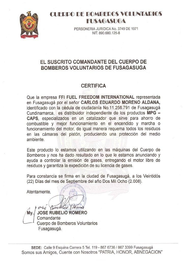 Certificacion De Bomberos De Fusagasuga 2008