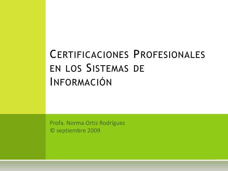 Certificaciones Profesionales
