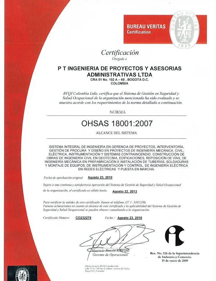 Certificacion ohsas 18001 2010 vigente