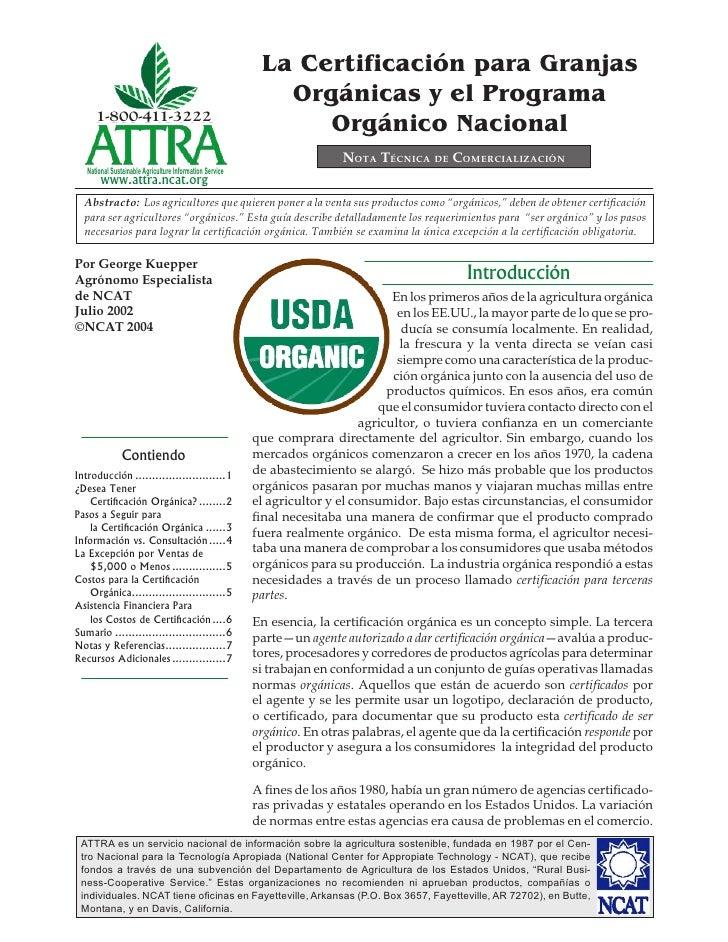 La Certificación para Granjas Orgánicas y el Programa Orgánico Nacional