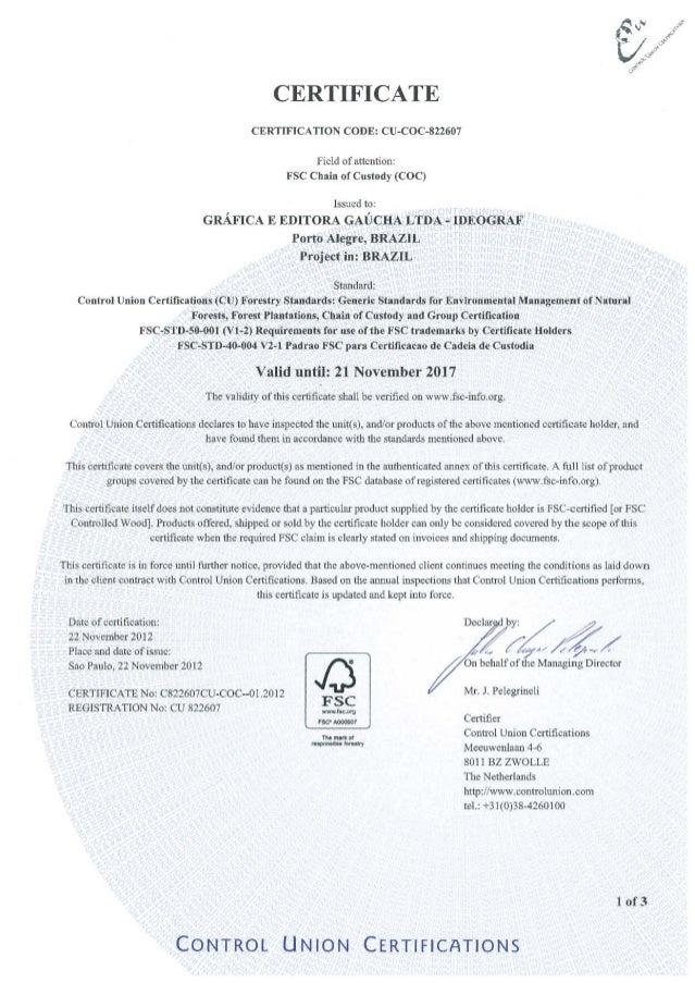Certificado FSC Ideograf