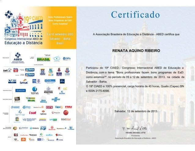 Certificado de participacao congresso abed 2013