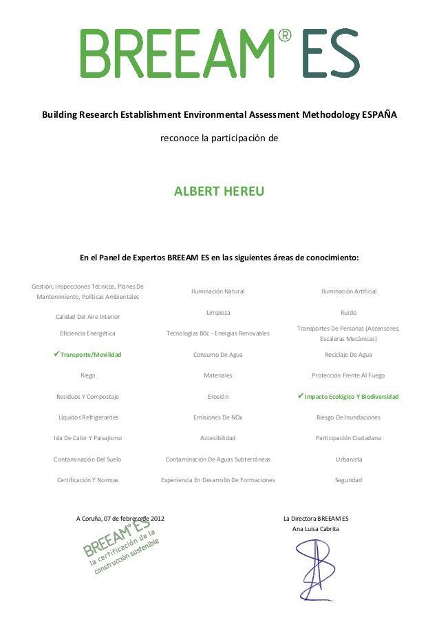 Building Research Establishment Environmental Assessment Methodology ESPAÑA                                             re...
