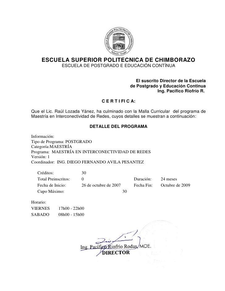 ESCUELA SUPERIOR POLITECNICA DE CHIMBORAZO                ESCUELA DE POSTGRADO E EDUCACIÓN CONTÍNUA                       ...