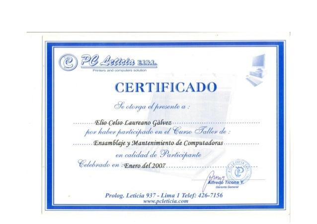Certificado ensamblaje computadoras