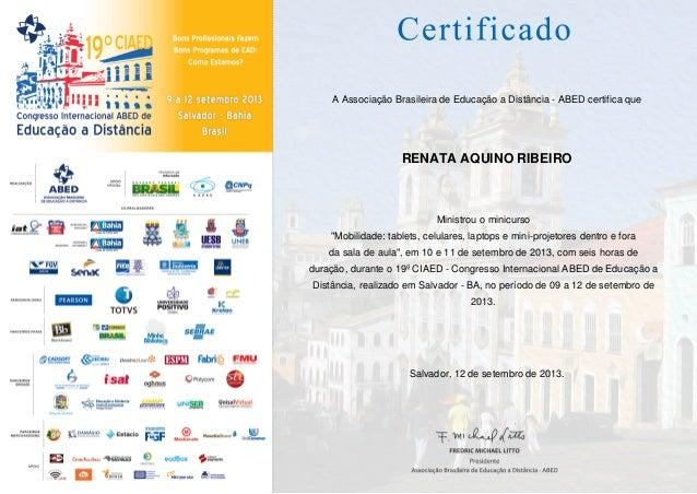 Certificado ensino do minicurso educacao e mobilidade congresso abed 19ciaed 2013
