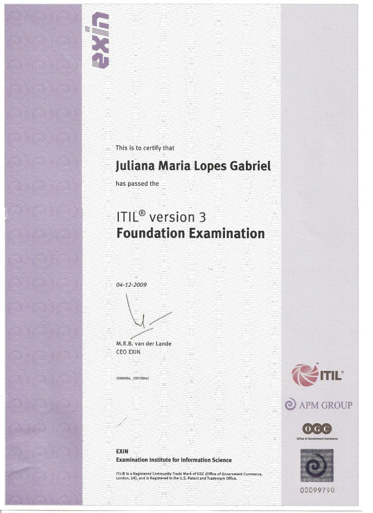 Certificado Itil - Juliana Maria Lopes