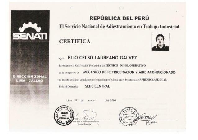 Certificado Mecanico de  Refrigeración Senati