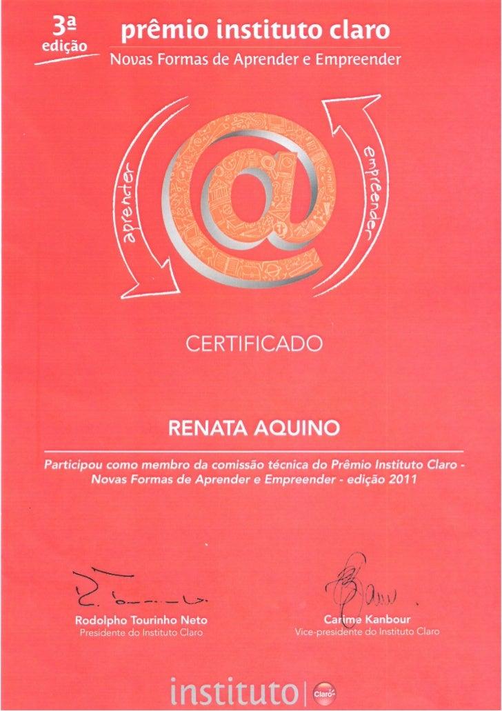 Certificado participacao premio instituto claro