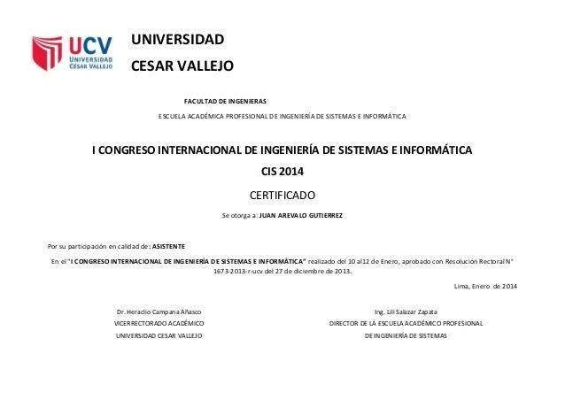 UNIVERSIDAD CESAR VALLEJO FACULTAD DE INGENIERAS ESCUELA ACADÉMICA PROFESIONAL DE INGENIERÍA DE SISTEMAS E INFORMÁTICA I C...