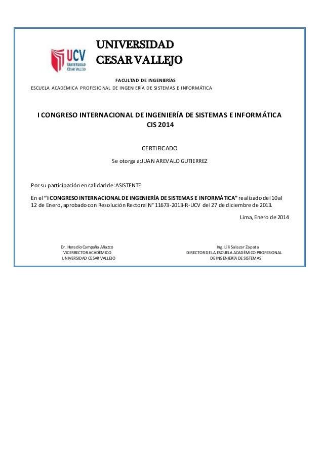 UNIVERSIDAD CESAR VALLEJO FACULTAD DE INGENIERÍAS ESCUELA ACADÉMICA PROFESIONAL DE INGENIERÍA DE SISTEMAS E INFORMÁTICA I ...