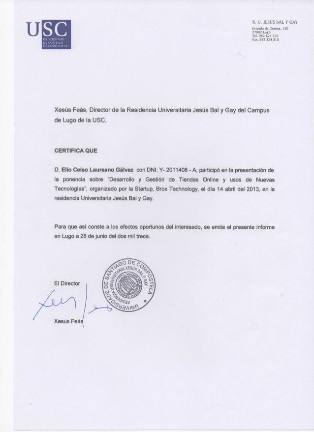 Certificado ponencia tiendas online Usc