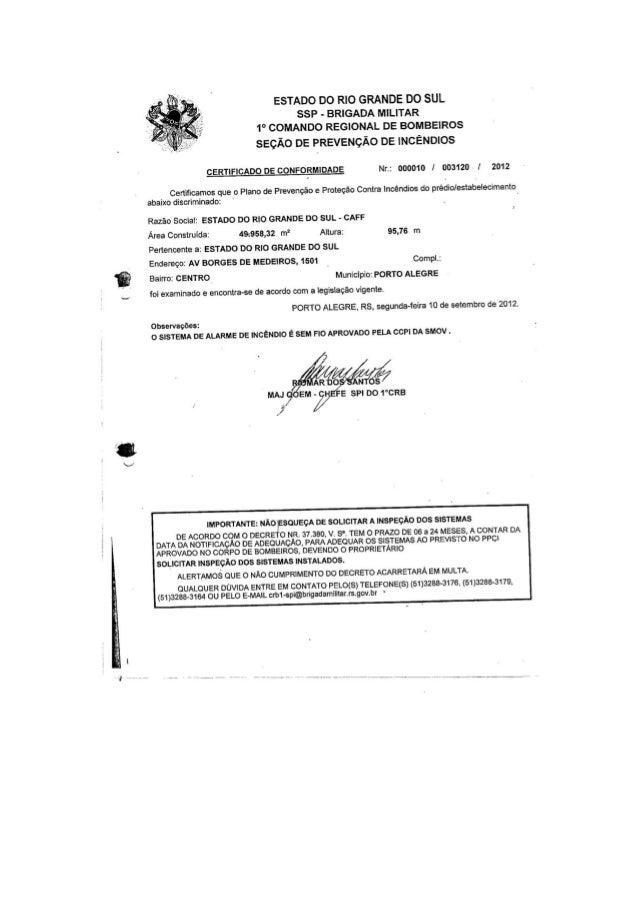 Certificado de Conformidade do PPCI do CAFF