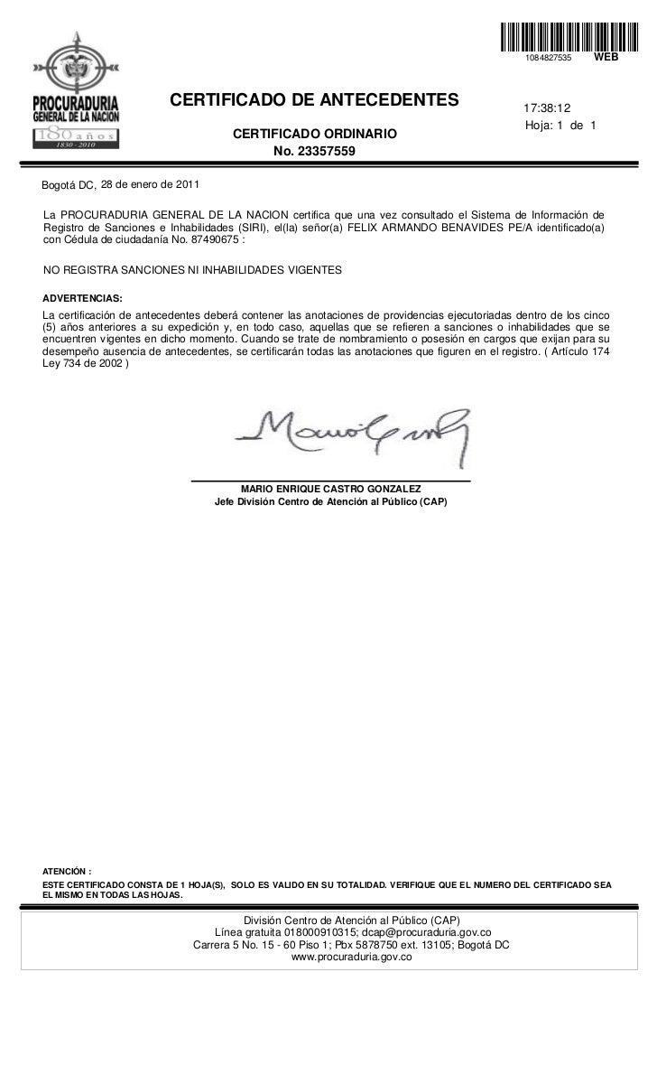 Certificado procuraduria felix