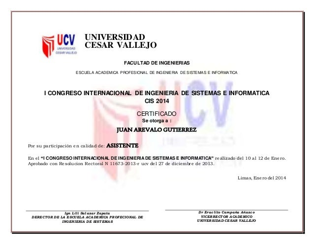 UNIVERSIDAD CESAR VALLEJO FACULTAD DE INGENIERIAS ESCUELA ACADEMICA PROFESIONAL DE INGENIERIA DE SISTEMAS E INFORMATICA I ...