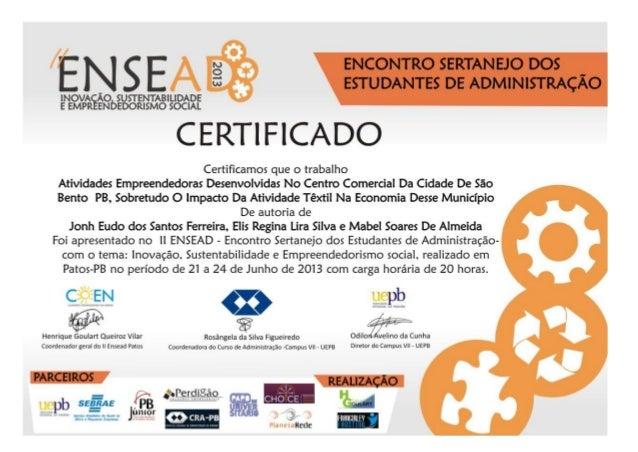 Certificados artigos ensead 2013