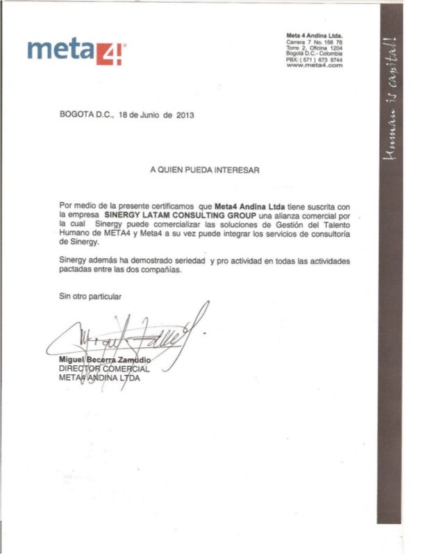 Certificado Alianza Sinergy Latam Consulting Group & Meta 4