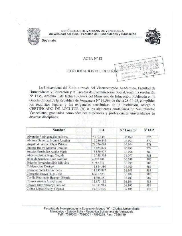 Certificados Locutor Acta 12