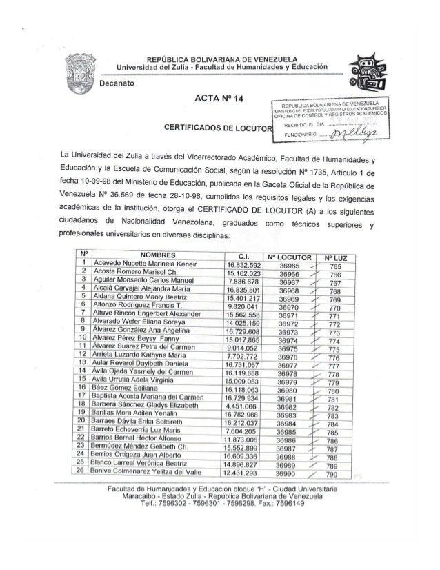 REPÚBLICA BOLIVARIANA DE VENEZUELA _ ,  Universidad del Zulia - Facultad de Iilumanidades y Educfclon  Decanato      No  -...