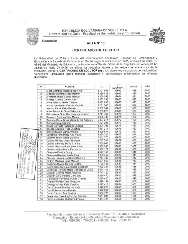 Certificados Locutor Acta 18