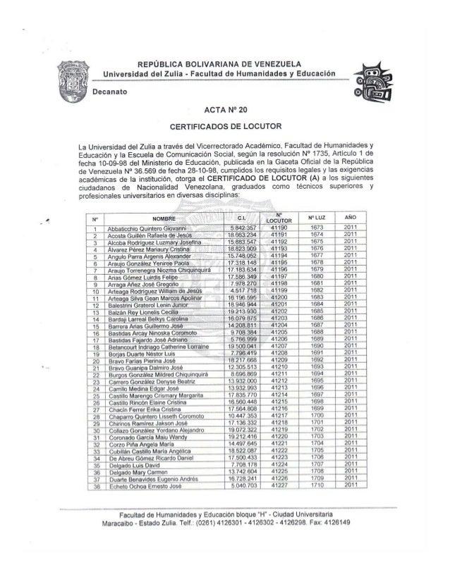 Certificados Locutor Acta 20