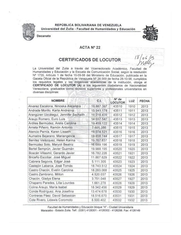 Certificados Locutor Acta 22