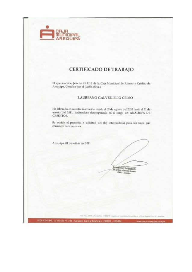 Certificado Trabajo Analista de Creditos Caja Arequipa