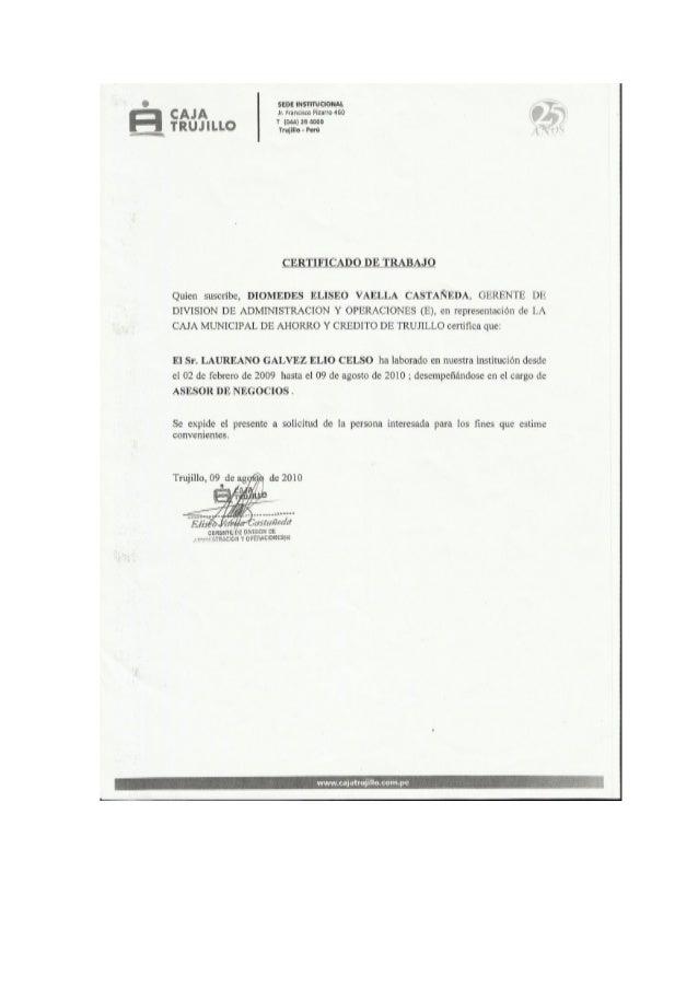 Certificado de Trabajo Analista de Créditos Caja Arequipa